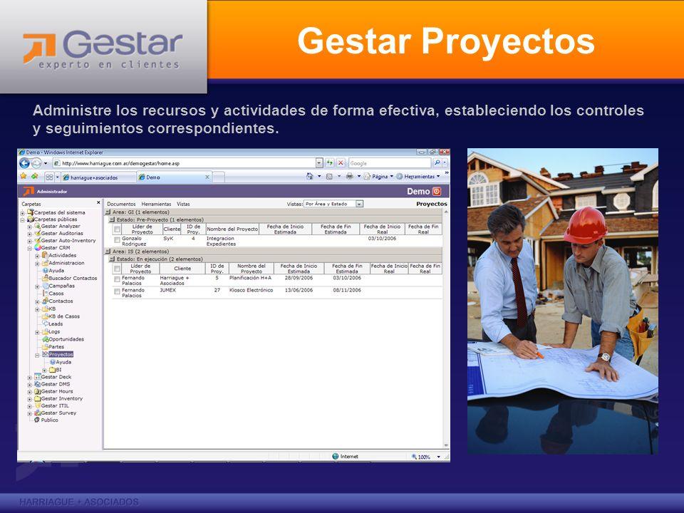 Gestar Proyectos Administre los recursos y actividades de forma efectiva, estableciendo los controles y seguimientos correspondientes.