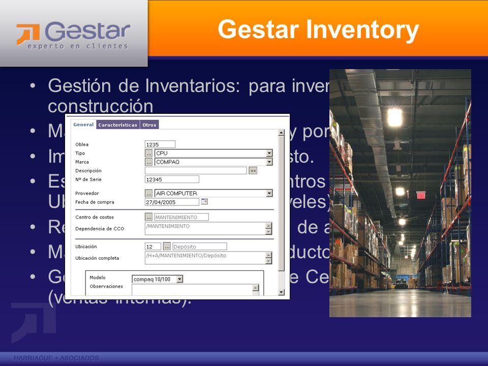 Gestar Inventory Gestión de Inventarios: para inventarios de construcción. Manejo de stock serializado y por cantidades.