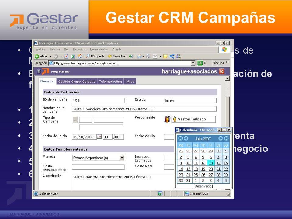 Gestar CRM Campañas Gestar CRM Campañas: ejecución de campañas de MKT