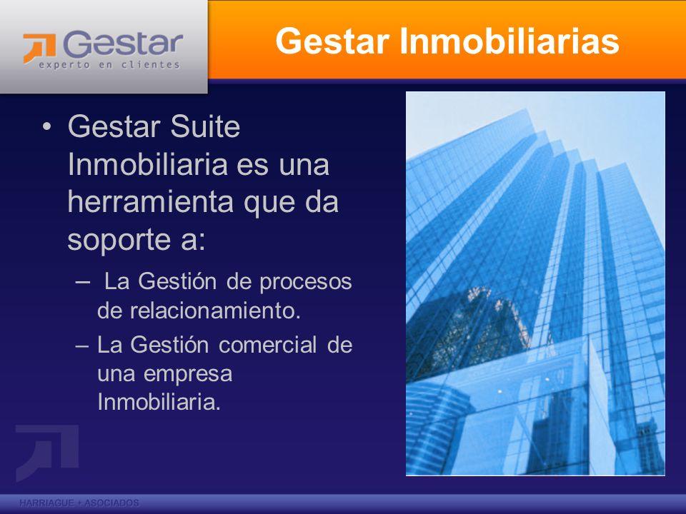 Gestar Inmobiliarias Gestar Suite Inmobiliaria es una herramienta que da soporte a: La Gestión de procesos de relacionamiento.