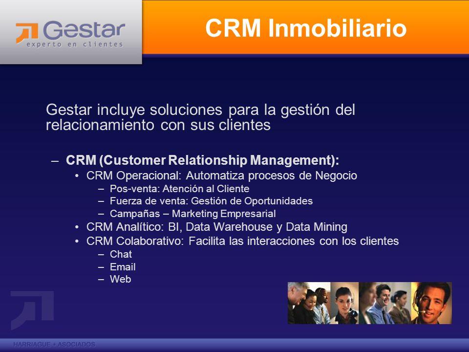 CRM InmobiliarioGestar incluye soluciones para la gestión del relacionamiento con sus clientes. CRM (Customer Relationship Management):