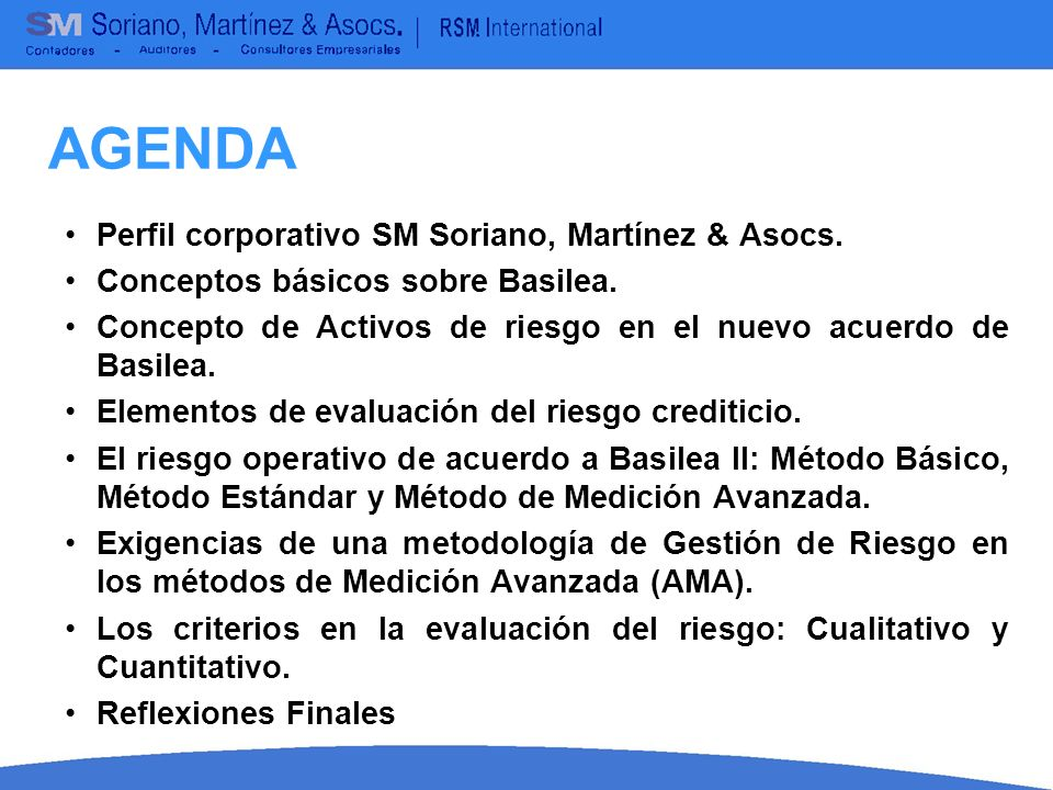AGENDA Perfil corporativo SM Soriano, Martínez & Asocs.