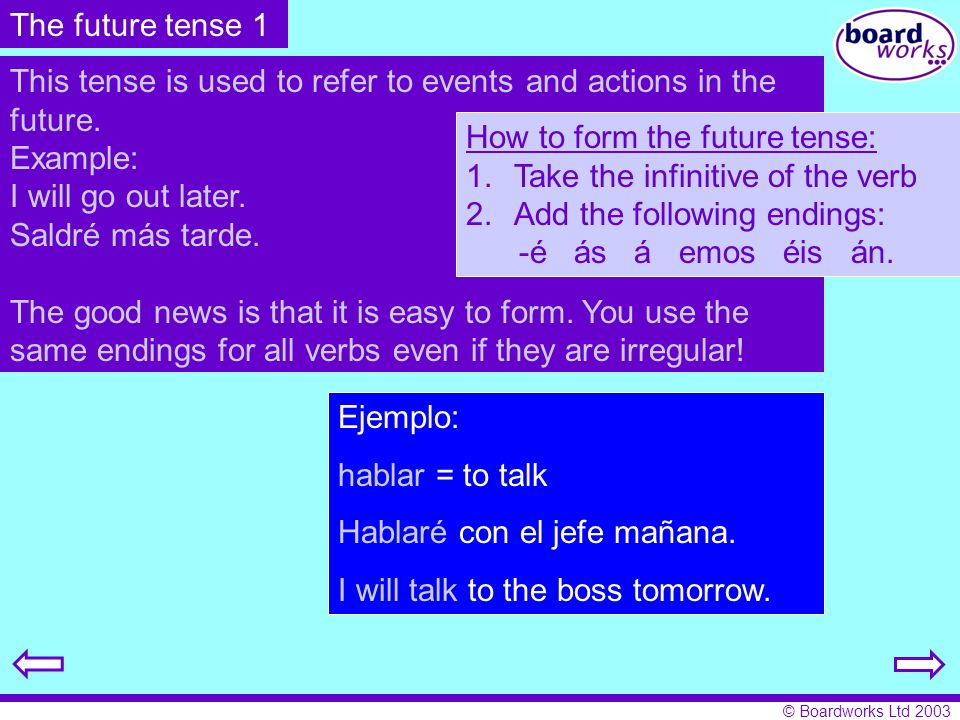 The future tense 1 This tense is used to refer to events and actions in the future. Example: I will go out later.