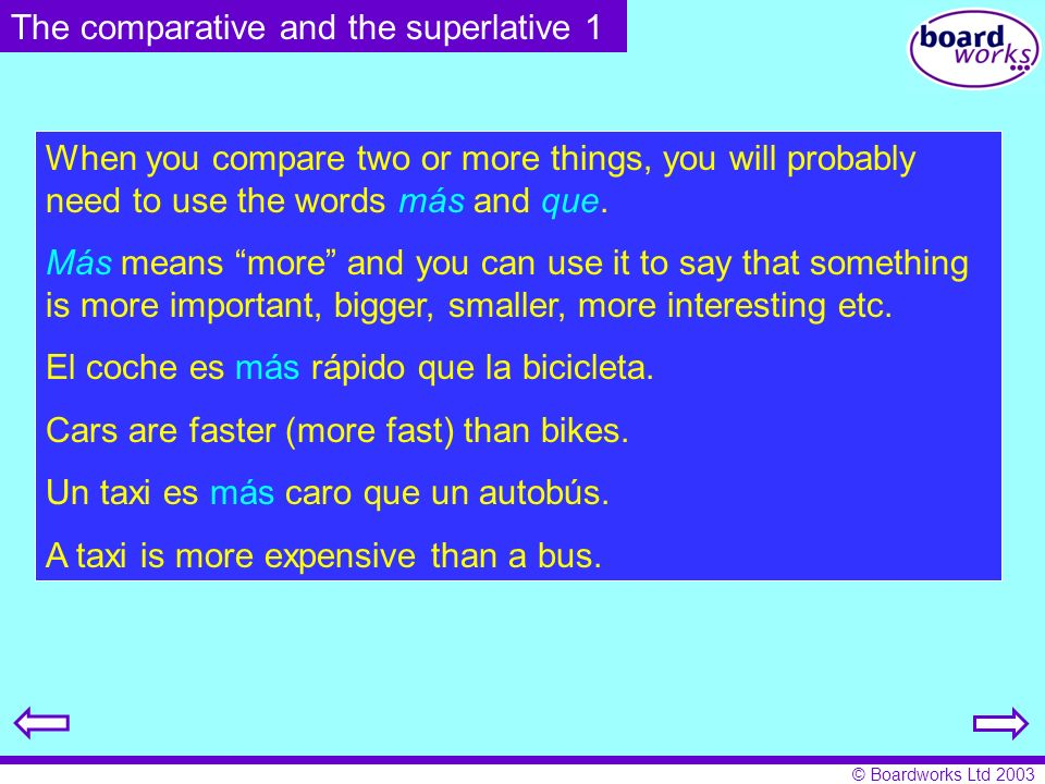 The comparative and the superlative 1