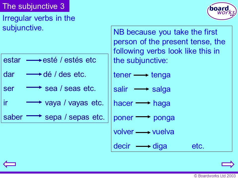 The subjunctive 3 Irregular verbs in the subjunctive.