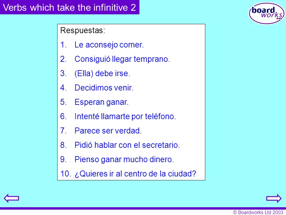 Verbs which take the infinitive 2