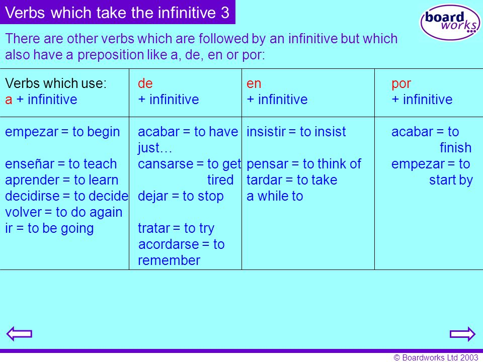 Verbs which take the infinitive 3
