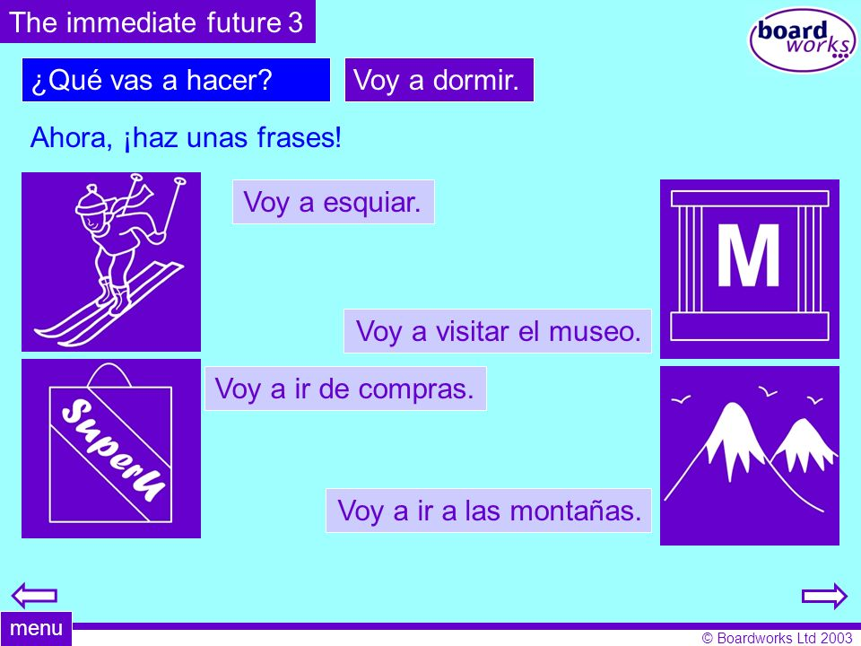 The immediate future 3 ¿Qué vas a hacer Voy a dormir.