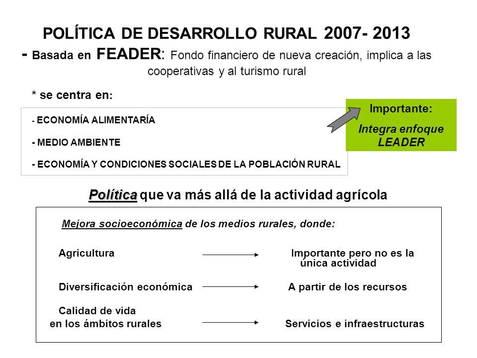 POLÍTICA DE DESARROLLO RURAL 2007- 2013 - Basada en FEADER: Fondo financiero de nueva creación, implica a las cooperativas y al turismo rural