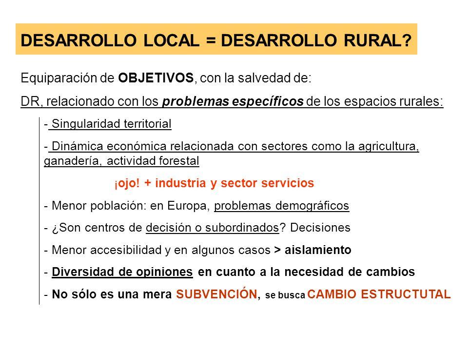 DESARROLLO LOCAL = DESARROLLO RURAL