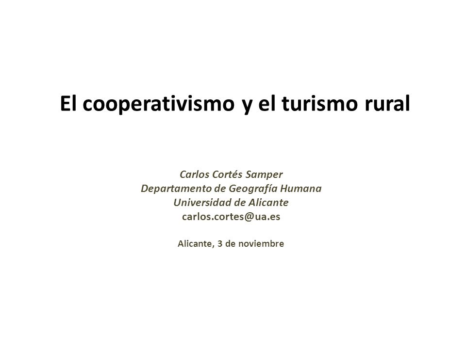 El cooperativismo y el turismo rural
