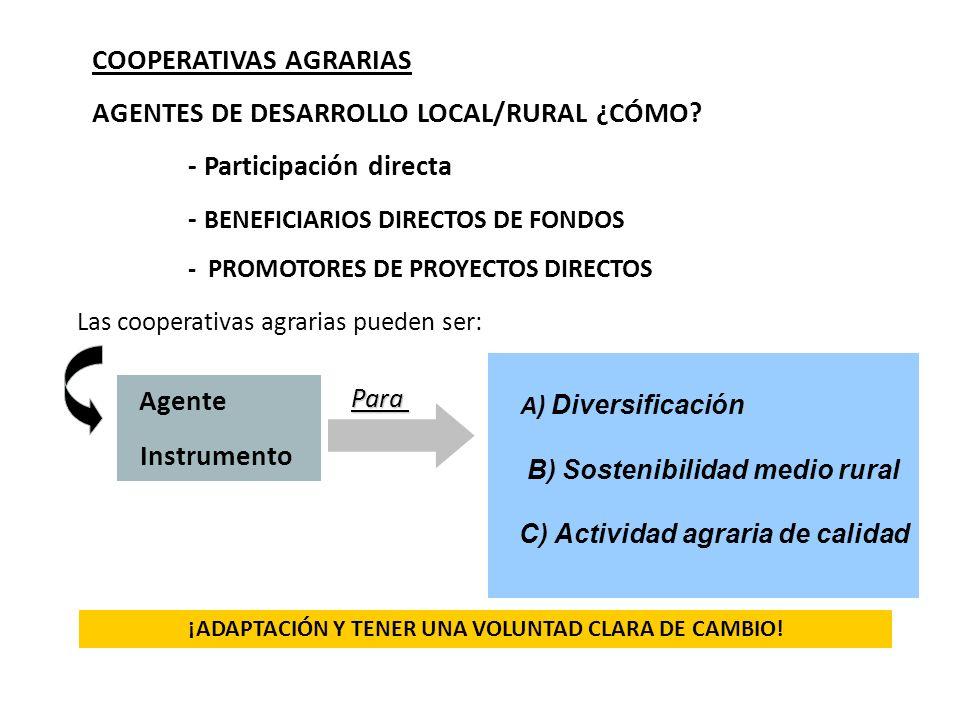 COOPERATIVAS AGRARIAS AGENTES DE DESARROLLO LOCAL/RURAL ¿CÓMO