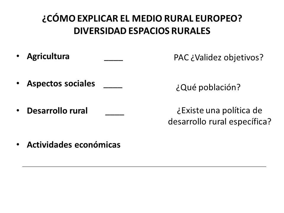 ¿CÓMO EXPLICAR EL MEDIO RURAL EUROPEO DIVERSIDAD ESPACIOS RURALES