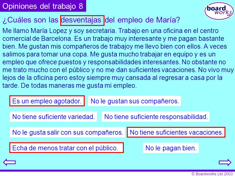 ¿Cuáles son las desventajas del empleo de María