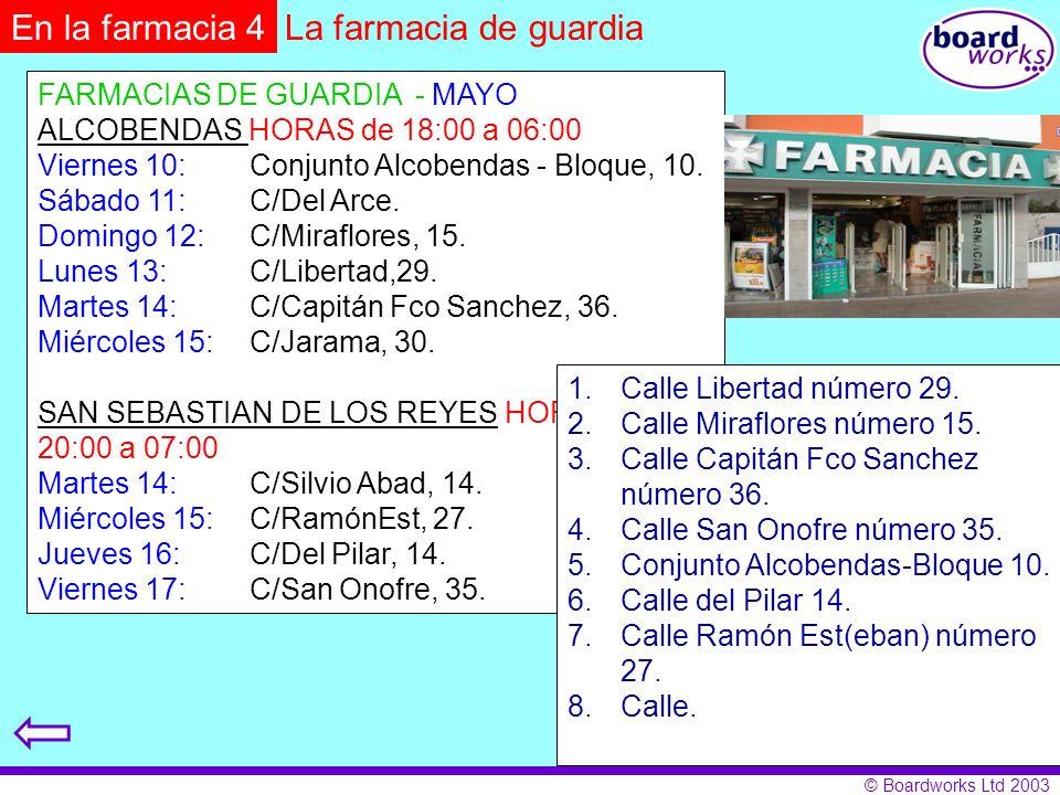 En la farmacia 4 La farmacia de guardia FARMACIAS DE GUARDIA - MAYO