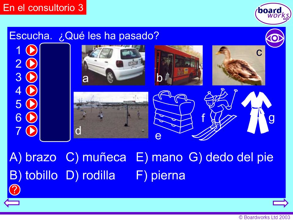 En el consultorio 3Pupils match injuries to circumstances in which they occurred. Click on eye to reveal and hide answers.