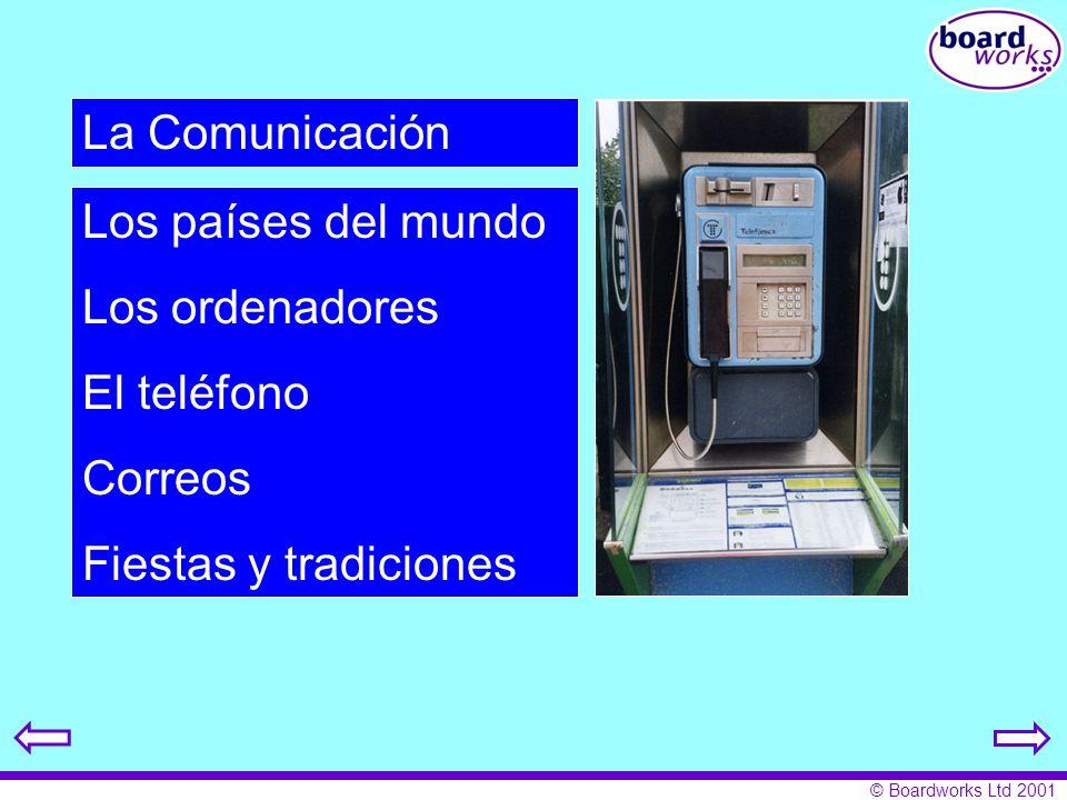 La Comunicación Los países del mundo Los ordenadores El teléfono Correos Fiestas y tradiciones