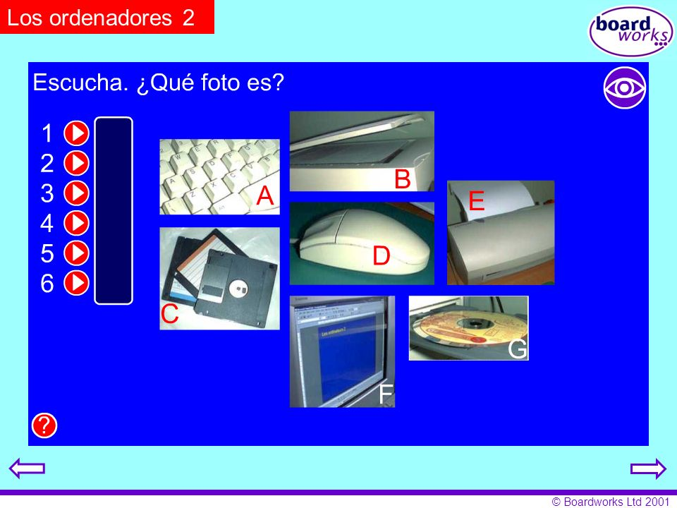 Los ordenadores 2 Pupils listen and match texts to pictures. Click on the eye to reveal. and hide answers.