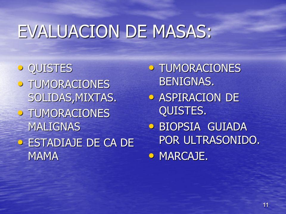 EVALUACION DE MASAS: QUISTES TUMORACIONES SOLIDAS,MIXTAS.