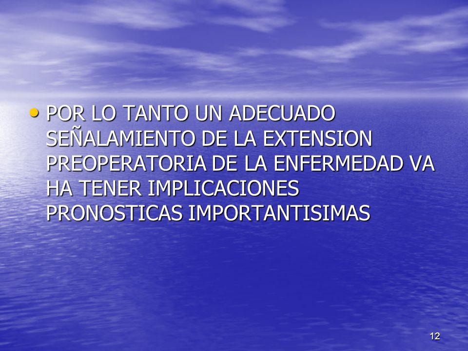 POR LO TANTO UN ADECUADO SEÑALAMIENTO DE LA EXTENSION PREOPERATORIA DE LA ENFERMEDAD VA HA TENER IMPLICACIONES PRONOSTICAS IMPORTANTISIMAS