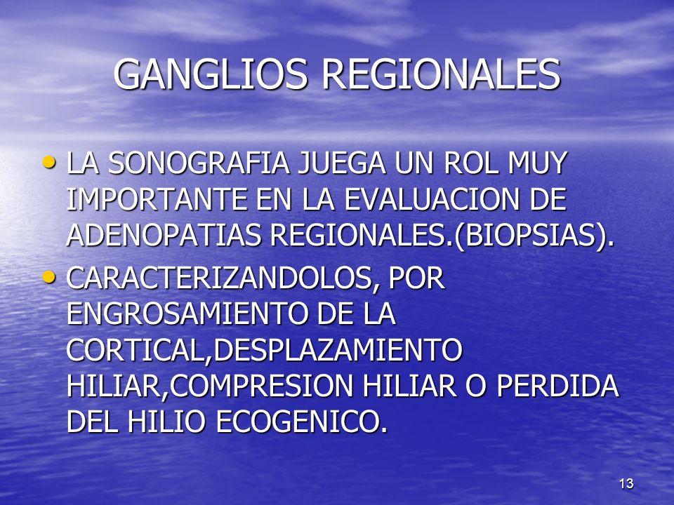 GANGLIOS REGIONALES LA SONOGRAFIA JUEGA UN ROL MUY IMPORTANTE EN LA EVALUACION DE ADENOPATIAS REGIONALES.(BIOPSIAS).