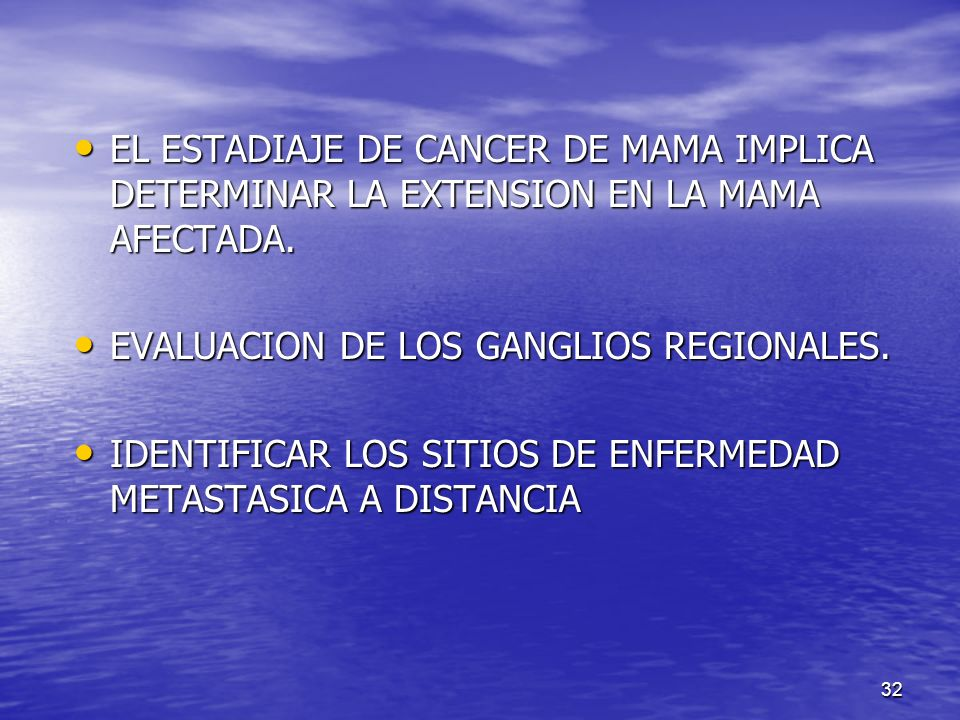 EL ESTADIAJE DE CANCER DE MAMA IMPLICA DETERMINAR LA EXTENSION EN LA MAMA AFECTADA.