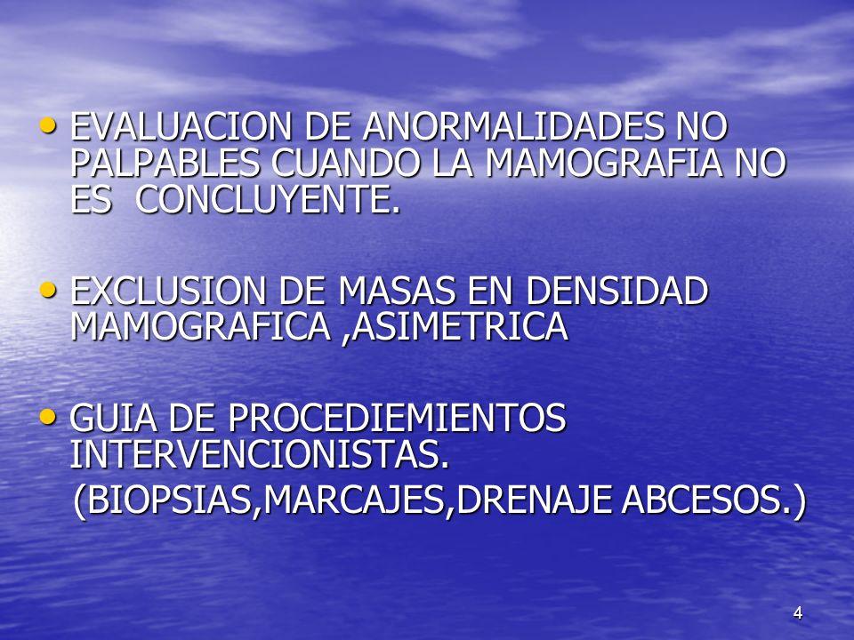 EVALUACION DE ANORMALIDADES NO PALPABLES CUANDO LA MAMOGRAFIA NO ES CONCLUYENTE.
