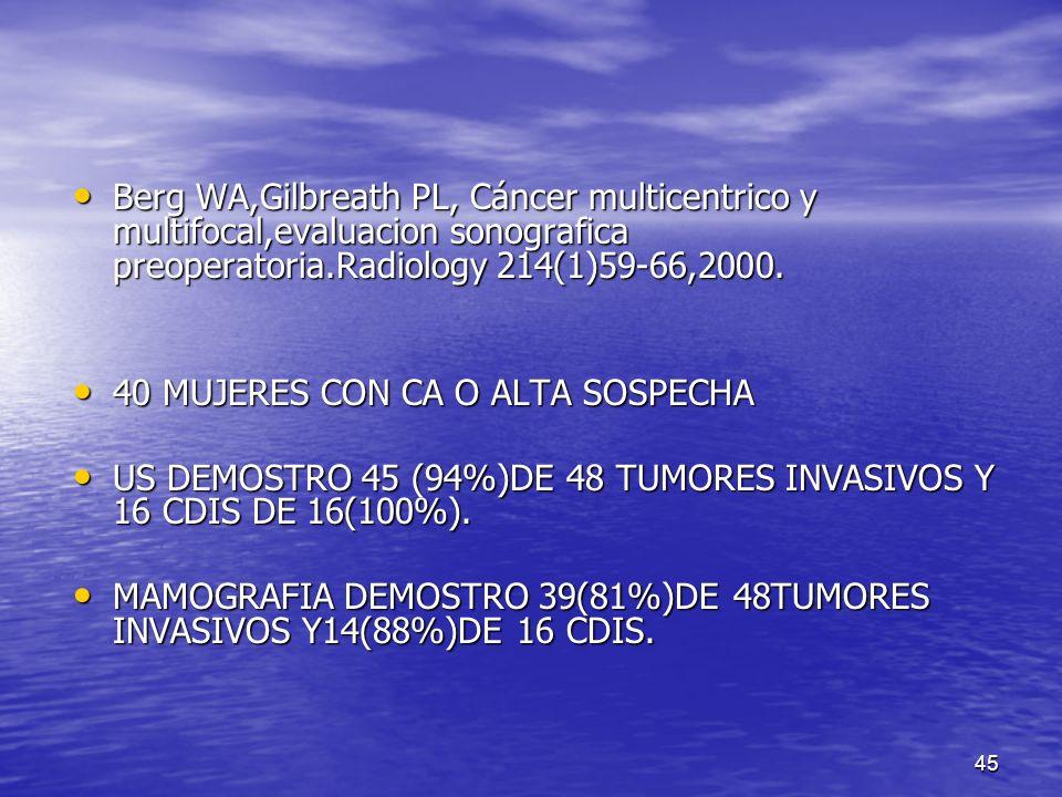 Berg WA,Gilbreath PL, Cáncer multicentrico y multifocal,evaluacion sonografica preoperatoria.Radiology 214(1)59-66,2000.
