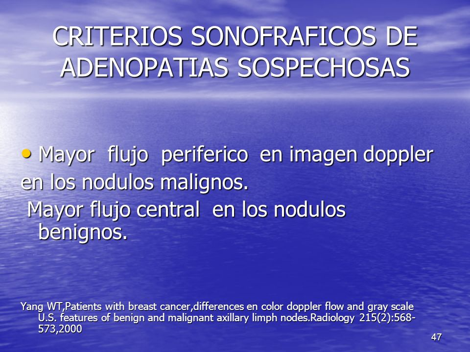 CRITERIOS SONOFRAFICOS DE ADENOPATIAS SOSPECHOSAS