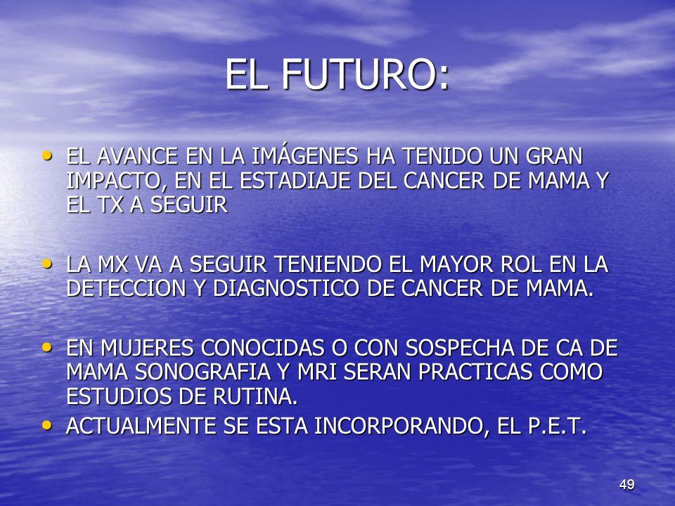 EL FUTURO:EL AVANCE EN LA IMÁGENES HA TENIDO UN GRAN IMPACTO, EN EL ESTADIAJE DEL CANCER DE MAMA Y EL TX A SEGUIR.