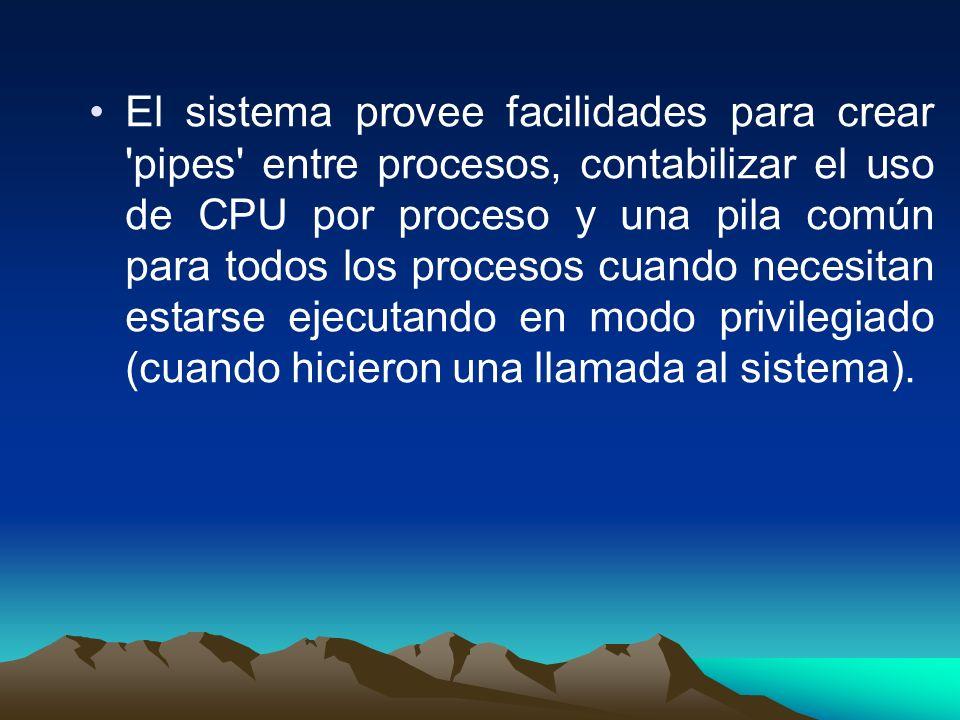 El sistema provee facilidades para crear pipes entre procesos, contabilizar el uso de CPU por proceso y una pila común para todos los procesos cuando necesitan estarse ejecutando en modo privilegiado (cuando hicieron una llamada al sistema).