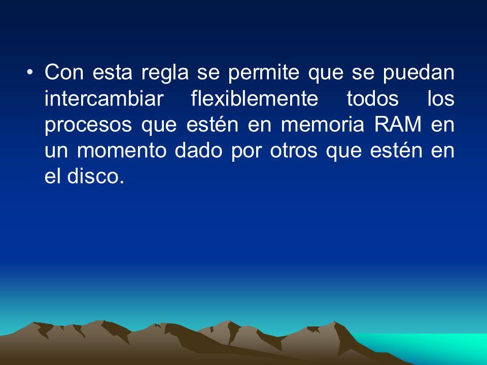 Con esta regla se permite que se puedan intercambiar flexiblemente todos los procesos que estén en memoria RAM en un momento dado por otros que estén en el disco.