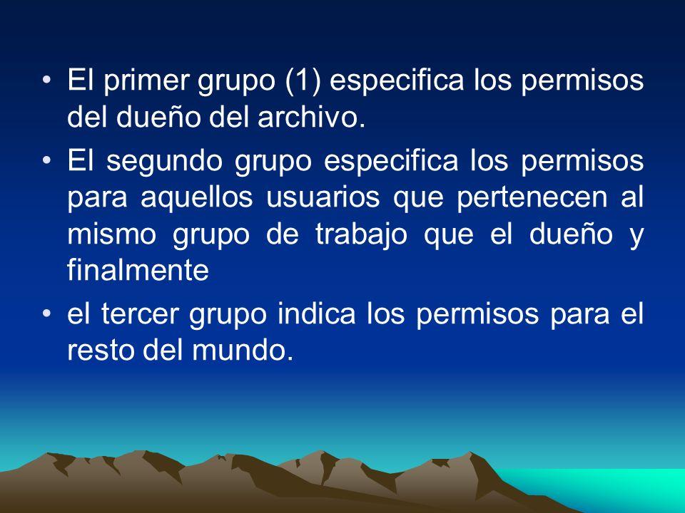 El primer grupo (1) especifica los permisos del dueño del archivo.
