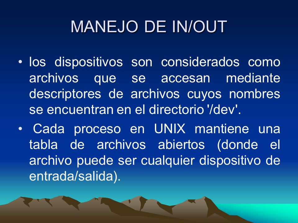 MANEJO DE IN/OUT