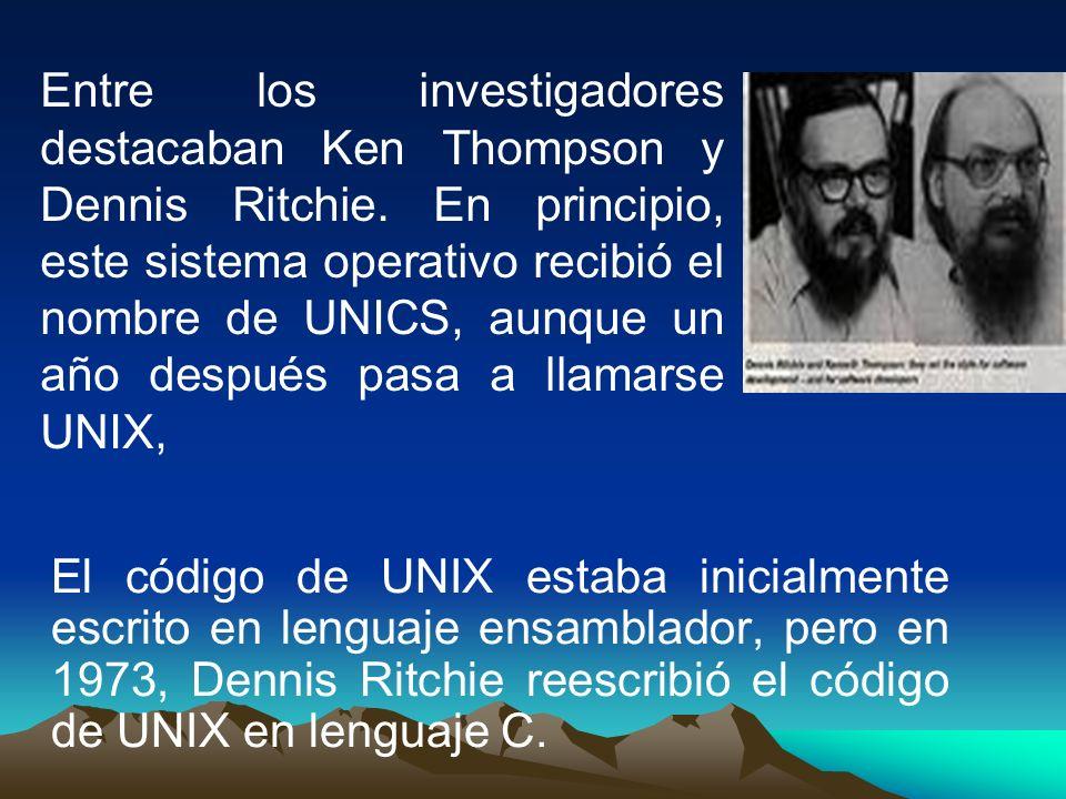 Entre los investigadores destacaban Ken Thompson y Dennis Ritchie