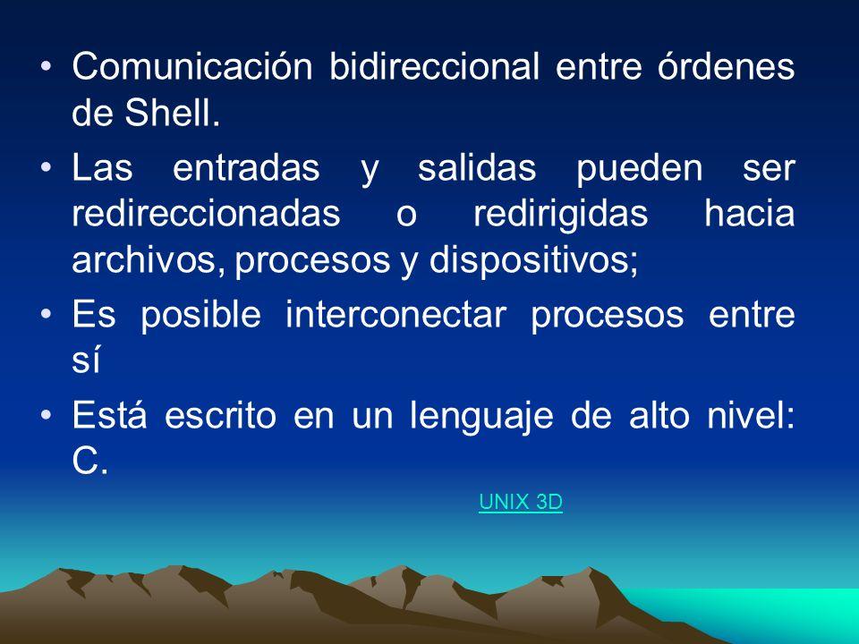 Comunicación bidireccional entre órdenes de Shell.