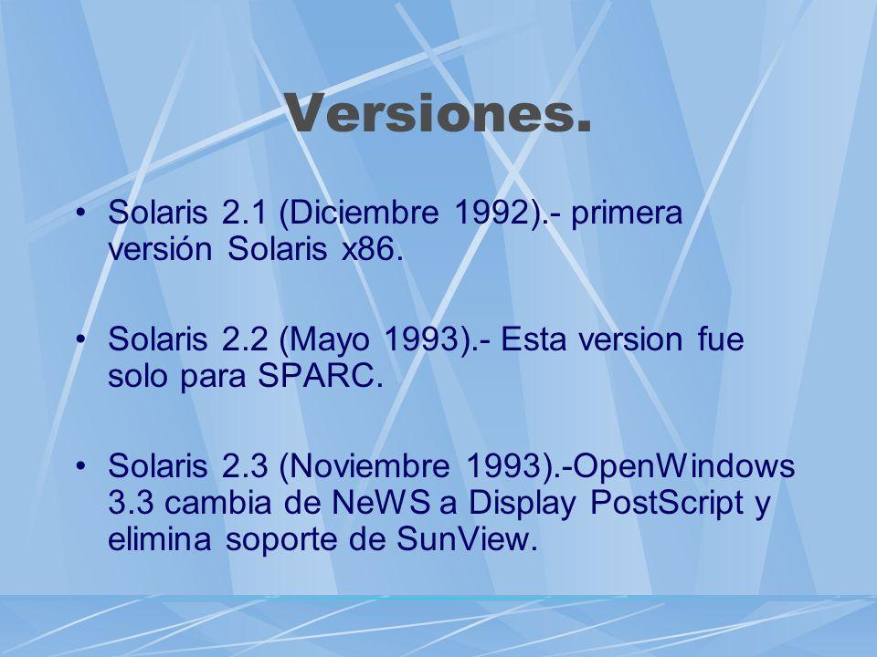 Versiones. Solaris 2.1 (Diciembre 1992).- primera versión Solaris x86.