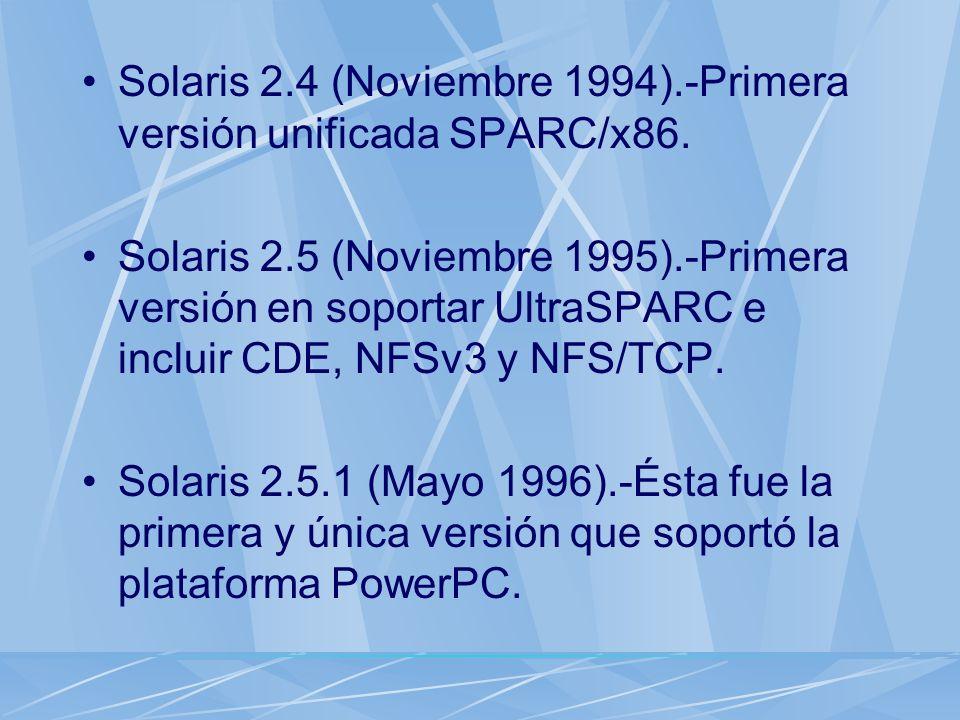 Solaris 2.4 (Noviembre 1994).-Primera versión unificada SPARC/x86.
