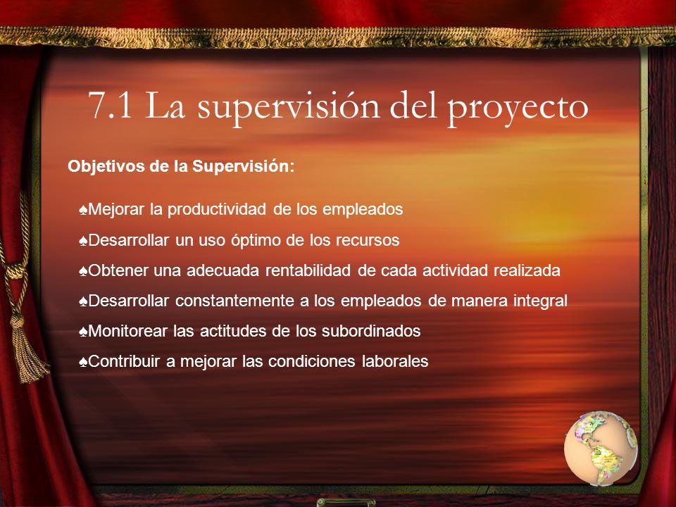 7.1 La supervisión del proyecto