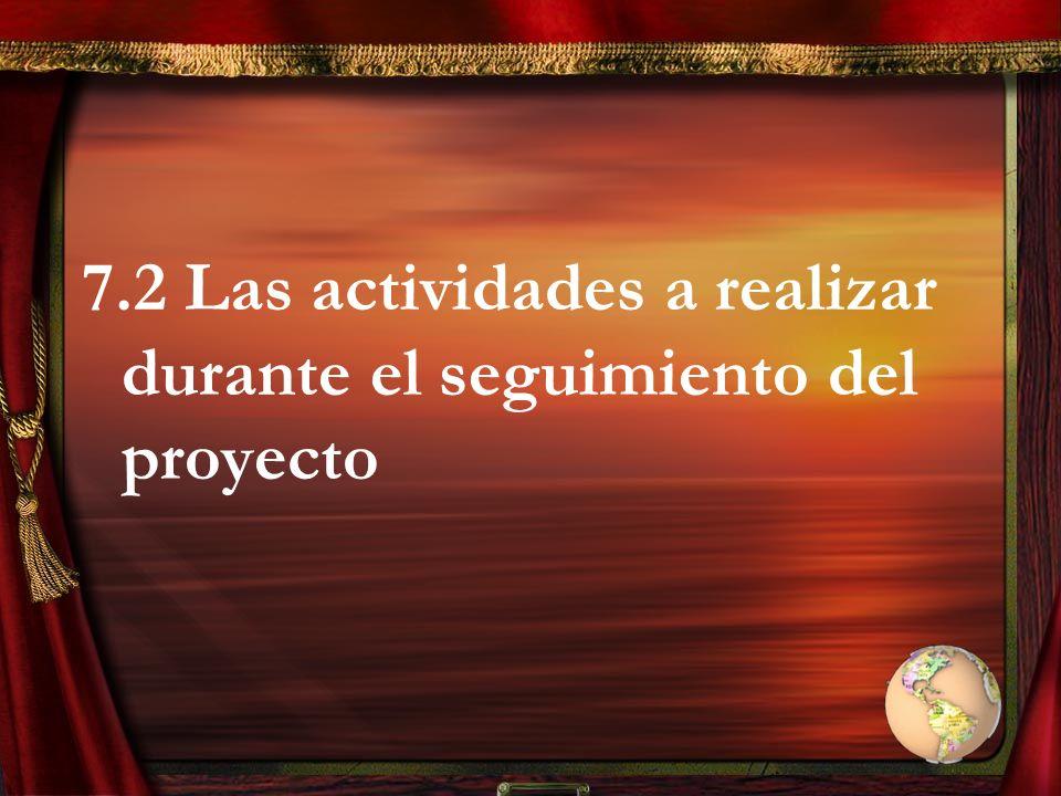 7.2 Las actividades a realizar durante el seguimiento del proyecto