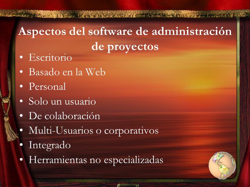 Aspectos del software de administración de proyectos