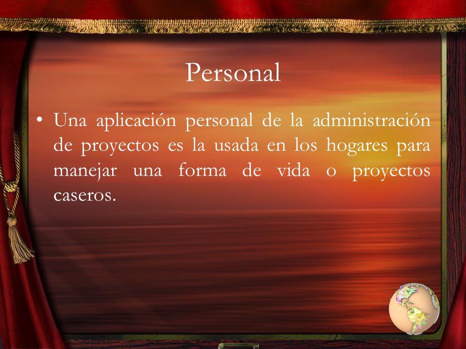 Personal Una aplicación personal de la administración de proyectos es la usada en los hogares para manejar una forma de vida o proyectos caseros.