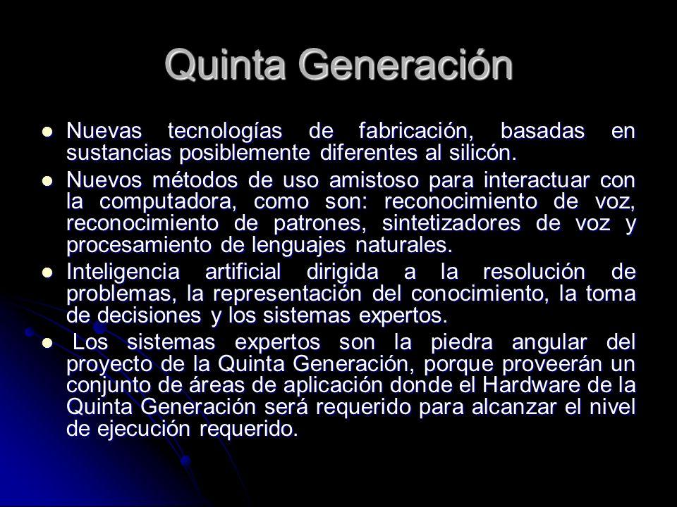 Quinta Generación Nuevas tecnologías de fabricación, basadas en sustancias posiblemente diferentes al silicón.