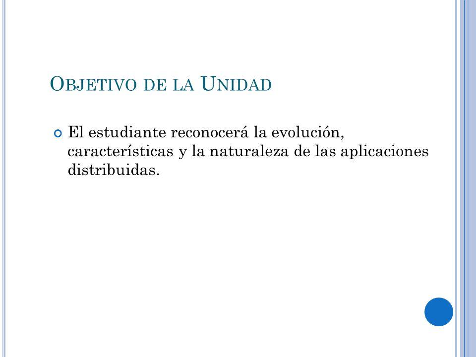 Objetivo de la UnidadEl estudiante reconocerá la evolución, características y la naturaleza de las aplicaciones distribuidas.