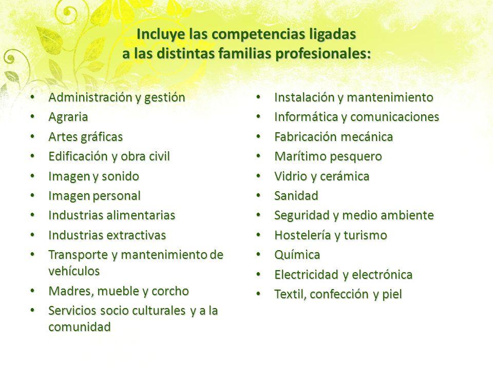 Incluye las competencias ligadas a las distintas familias profesionales: