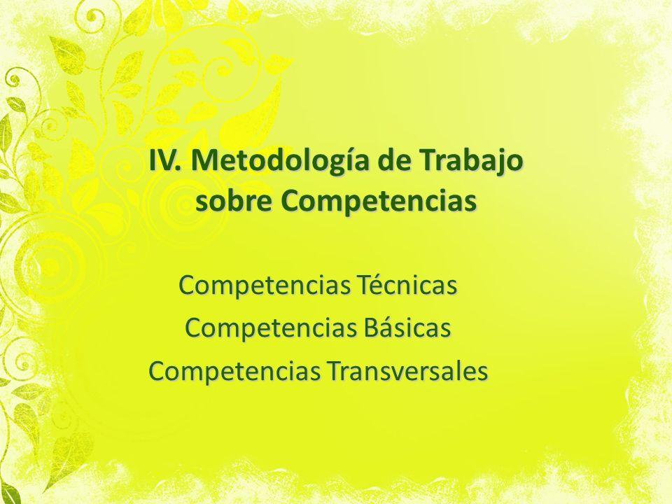 IV. Metodología de Trabajo sobre Competencias