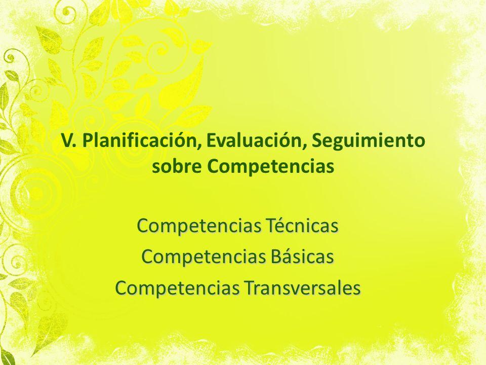 V. Planificación, Evaluación, Seguimiento sobre Competencias