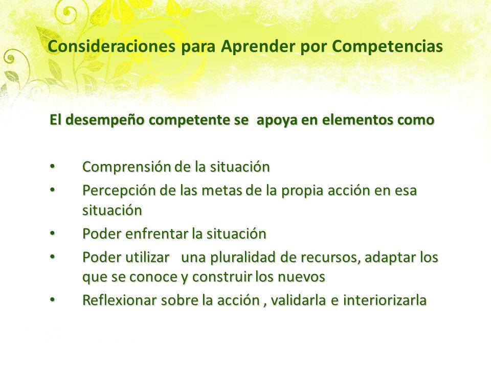 Consideraciones para Aprender por Competencias