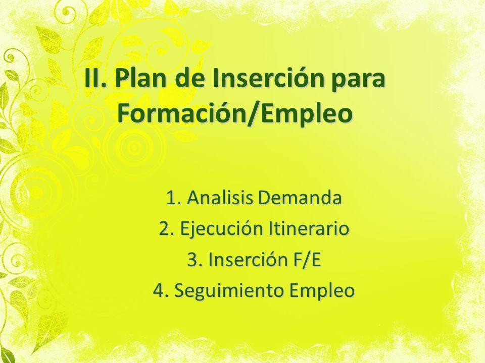 II. Plan de Inserción para Formación/Empleo
