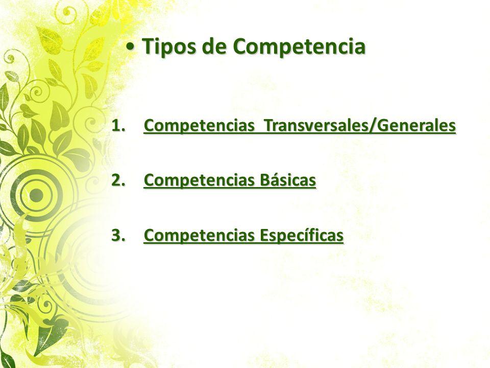 Tipos de Competencia Competencias Transversales/Generales
